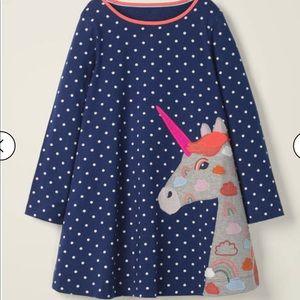 NWT Mini Boden Long Sleeve Appliqué Dress 4-5Y